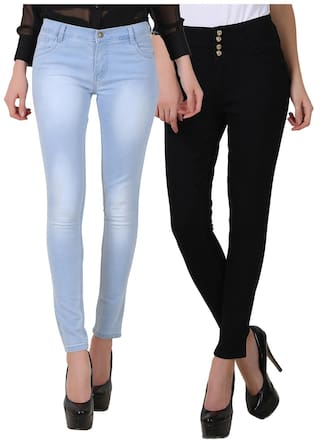 Fuego Women Fashion Wear Light Blue Monkey Wash and Four Button Black Jeans For Women-Pack of 2