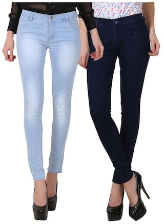 Fuego Women Fashion Wear Light Blue Monkey Wash and Blue Jeans For Women-Pack of 2