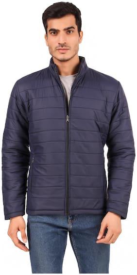 Leather Retail Men Blue Solid Bomber jacket
