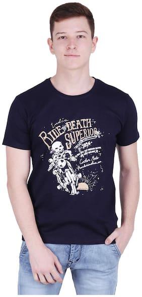 FUNKIINDIA Men Slim fit Round neck Printed T-Shirt - Black
