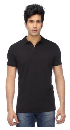 FUNKY GUYS Men Slim Fit Polo Neck Solid T-Shirt - Black