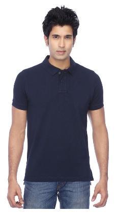 FUNKY GUYS Men Slim Fit Henley Neck Solid T-Shirt - Blue