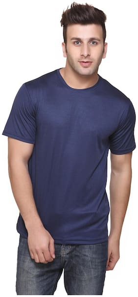 FUNKY GUYS Men Slim fit Crew neck Solid T-Shirt - Blue