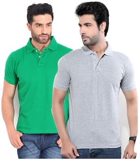 FUNKY GUYS Pack Of Grey and Green Polo T Shirts