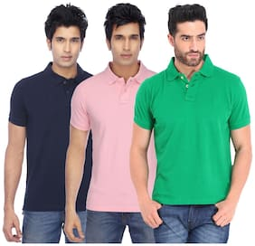 Men Polo Collar Printed T-Shirt Pack Of 3