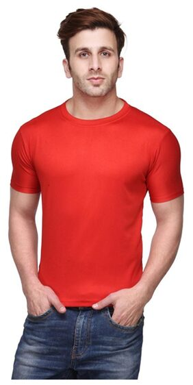 FUNKY GUYS Men Slim Fit Round Neck Solid T-Shirt - Red