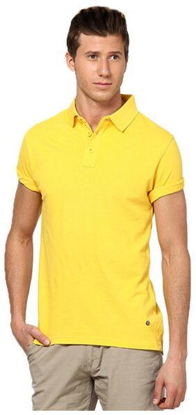 FUNKY GUYS Yellow Slim Fit Polo T Shirt