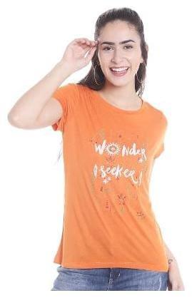 109°F Women Printed Round neck T shirt - Orange