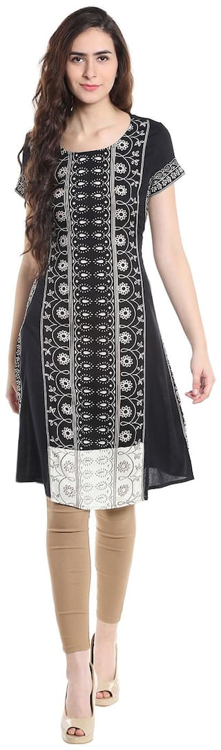 Fusion Beats Viscose Printed Fit & Flare Dress Black