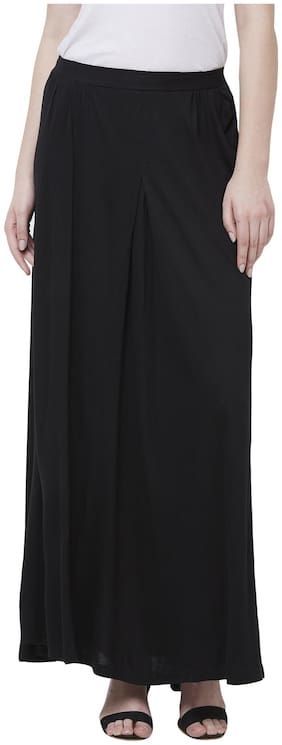 Fusion Beats Solid Straight skirt Maxi Skirt - Black