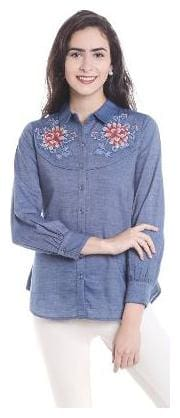 109°F Women Regular fit Solid Shirt - Blue
