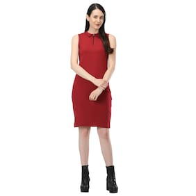 FUSION FASHION FOR LIFE Maroon Solid Bodycon dress