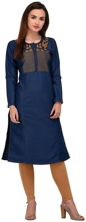 G.S.A. Enterprises Women Blue Embroidered Straight Kurta