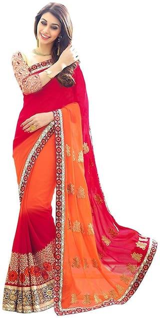 G Stuff Fashion Georgette Universal Embroidered work Saree - Orange , With blouse