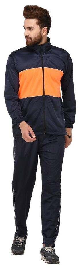 Gag Wears Men Polyester Track Suit - Navy Blue