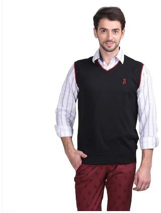 Galatea Black Cotton Blend Half Sleeve's Sweater