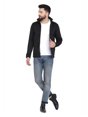 Men Blended Long Sleeves Biker Jacket