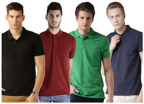 Men Polo Collar Solid T-Shirt Pack Of 4