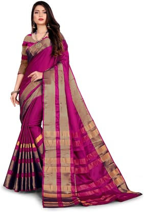 Ganga Shree Cotton Pink Striped Regular Saree  For Women