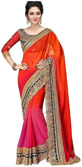 Ganga Shree Self Design Latest Georgate Pathani Saree, New Design Jacquard Jodha Saree