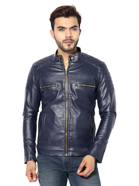 GARMADIAN Men Blue Solid Leather jacket