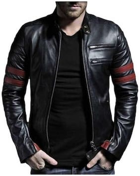 GARMADIAN Men Black Solid Leather jacket
