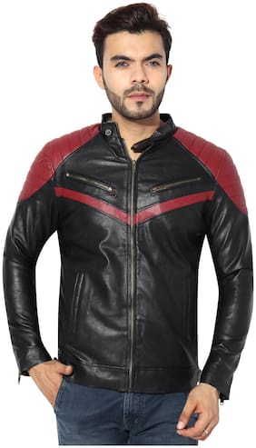 GARMADIAN Men Black Colorblocked Leather jacket