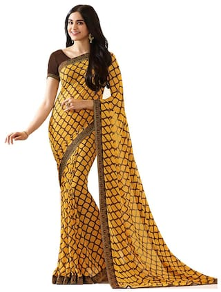 9200ad7214 Buy Genius Creation Bollywood Design Yellow Color Georgette Printed ...