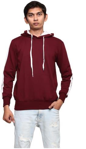 GENTINO Men Maroon Hooded Sweatshirt