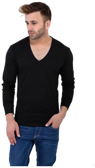 e25b79671d Buy Vivid Bharti Men Regular Fit V Neck Solid T-Shirt - Black Online ...