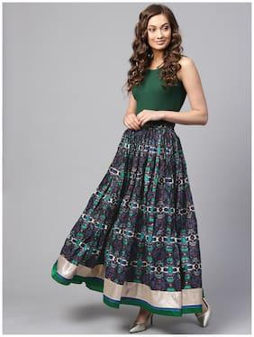 Geroo Jaipur Hand Block Printed Long Cotton Skirt