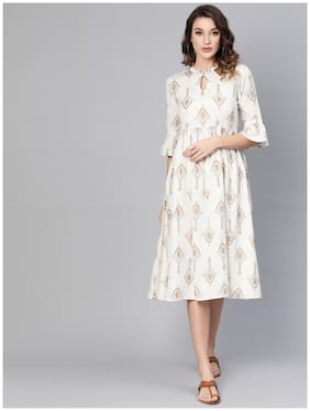 Women Printed A Line Fusion Dresses