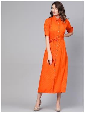GERUA Rayon Half Sleeves Solid Orange Kurti Dress