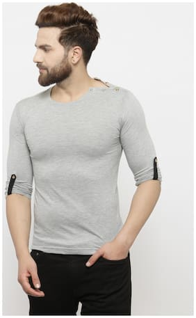 GESPO Men Grey Regular fit Cotton Round neck T-Shirt - Pack Of 1