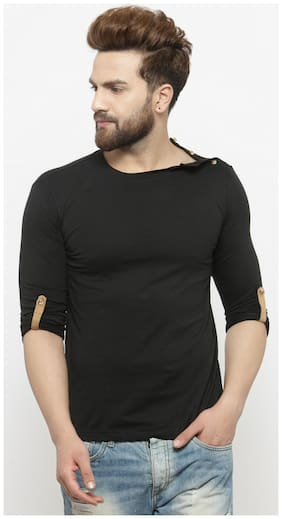 GESPO Men Black Regular fit Cotton Round neck T-Shirt - Pack Of 1