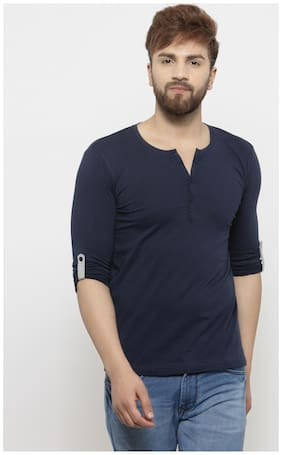 GESPO Men Blue Regular fit Cotton Henley neck T-Shirt - Pack Of 1