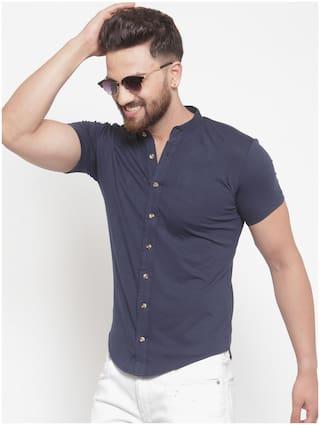 GESPO Men Blue Solid Regular Fit Casual Shirt