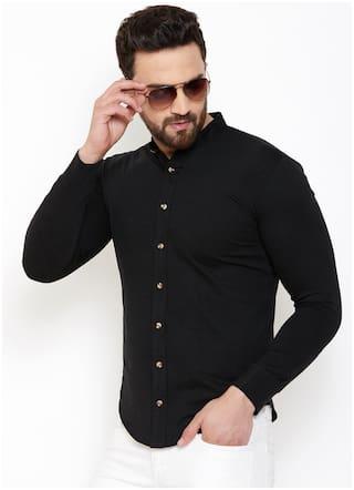 GESPO Men Black Solid Regular Fit Casual Shirt