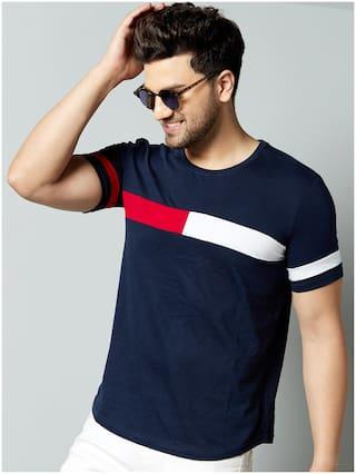 GESPO Men Blue Regular fit Cotton Blend Round Neck T-Shirt