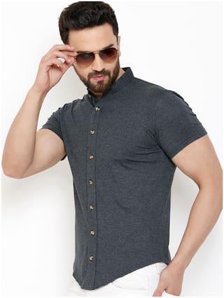 GESPO Men Grey Solid Regular Fit Casual Shirt