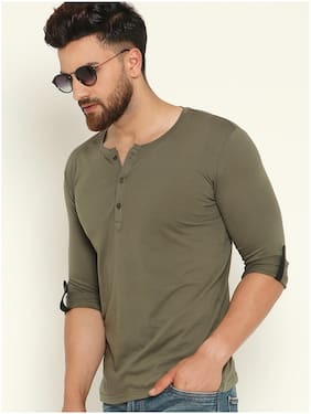GESPO Men Olive Regular fit Cotton Blend Henley neck T-Shirt - Pack Of 1