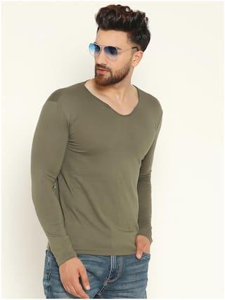 GESPO Men Olive Regular fit Cotton Blend Scoop Neck T-Shirt