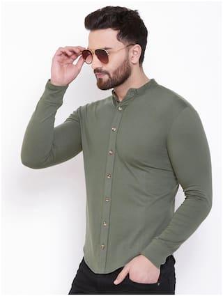 Gespo Men Olive Cotton Blend Solid Shirt