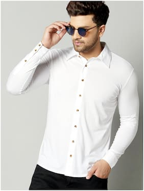 GESPO Men White Solid Regular Fit Casual Shirt