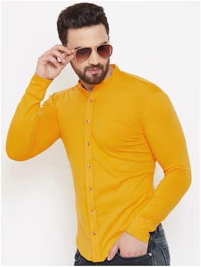 GESPO Men Yellow Solid Regular Fit Casual Shirt