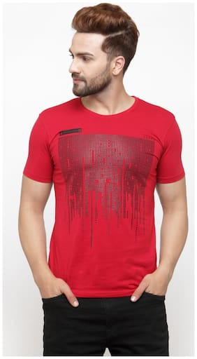 GESPO Men Red Regular fit Cotton Round neck T-Shirt - Pack Of 1