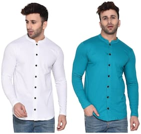 Geum Cotton Blend Solid White & Turquoise Color Casual Shirt For Men (Pack Of 2)