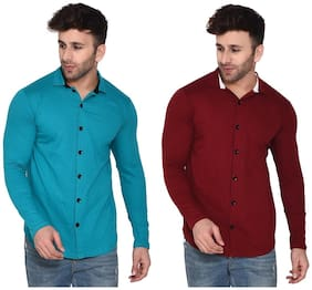 Geum Cotton Blend Solid Turquoise & Maroon Color Casual Shirt For Men (Pack Of 2)
