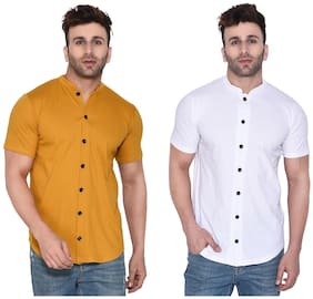 Geum Cotton Blend Solid Mustard& White Color Casual Shirt For Men (Pack Of 2)