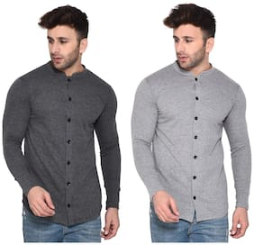Geum Men Grey Solid Regular Fit Casual Shirt